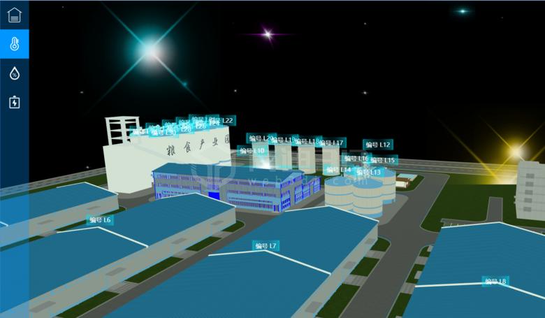 智慧粮仓3D物联网管理系统_数字化园区建设_园区3D监控