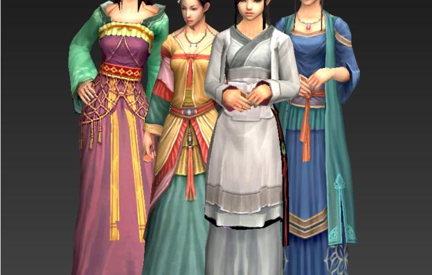 游戏角色3d建模-女性角色模型