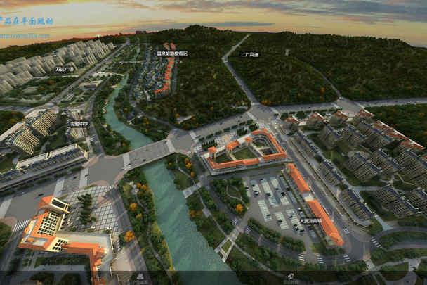 地产全景营销方案|虚拟沙盘鸟瞰全景图