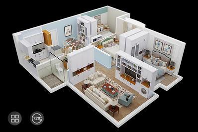 VR全景看房三维室内样板间3D电子房产数字沙盘展示